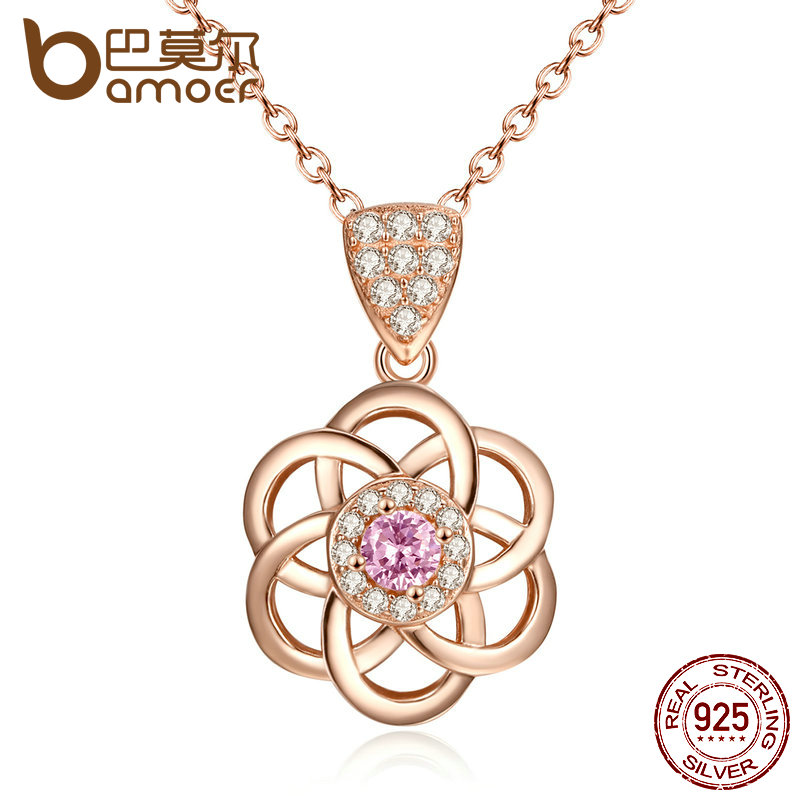 BAMOER New Arrival Pink Stone 925 Sterling Silver Flower 45CM Chain Pendant Necklace For Women Fine