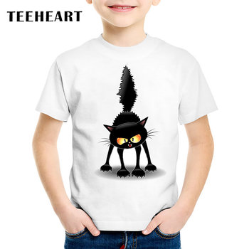 18M-10T Summer T-Shirt for Children Naughty Black Cat Head Print t shirt Boys/Girls Top Tees Outwear TA165