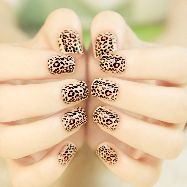 New 24tips Press On Nail Kit Tips With Adhesive Tabs Lovely Leopard