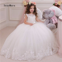 White Ivory Ankle Length Flower Girl Dress for Wedding Tulle Lace Beading Girls Ball Gowns First Communion Dress Custom Made 2019 new girls first communion dress white ivory lace puffy tulle o neck flower girls dresses for wedding with veil custom made