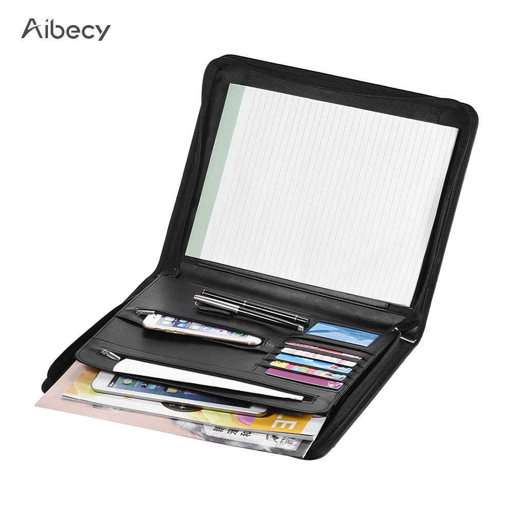 Zippered Multifunctional A4 Portfolio Professional Padfolio File Organizer with Writing Pad Card Pockets for Businessmen Manager(China)