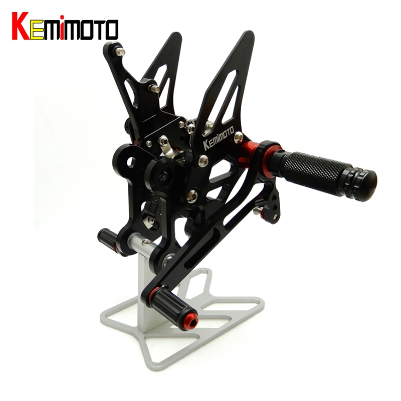KEMiMOTO CNC Adjustable Rear Set Rearsets Footrest For Suzuki GSX S750 2015 2016 GSR 750 2011