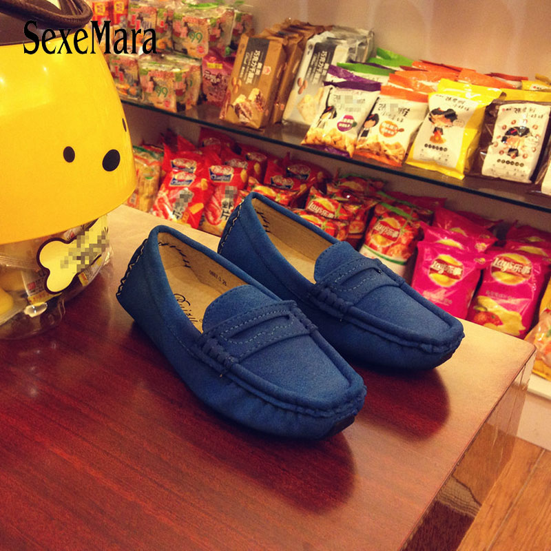 Handmade Slip On Leather Shoes For Kids 2018 New Suede Children's Sneakers Boys Loafers Autumn Flats With Plus Size 23-39 B08243