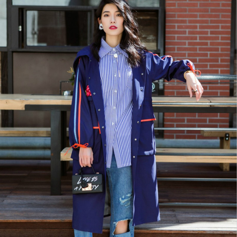 New Arrival Women Casual Hooded Trench Coat Female Long Slim Embroidery Patchwork Striped Overcoat Femme Drawstring Windbreaker