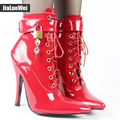 Jialuowei Women Extreme High Heel 12cm/5 Sexy Fetish Pointed Toe Stiletto Pumps Thin Heel Ankle Boots with padlocks DWT TV CD