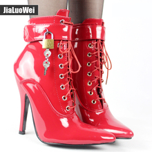 "Jialuowei Women 12cm/5"" High Heel Sexy Fetish Pointed-toe Stiletto Shoes Lace-up Lockable Ankle Boots with Padlocks Size 36-46"