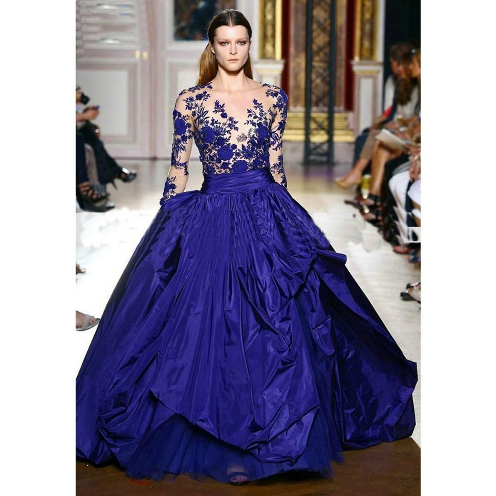 2015 New Designer Unique Long Sleeves Royal Blue Prom Dresses Formal ...