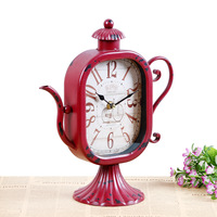 TUDA Free Shipping 10inch Creative Retro Table Clock Exquisite Teapot Shaped Metal Table Clock for Bar Cafe Restauruant Decor