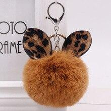 Fashion Leopard Ear Ball plush keychains creative Pom Keyrings Fure ball Bag Pendant Hanging Pompom KeyChain Women female 35