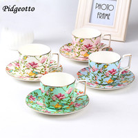 European Fine Bone China Coffee Cup Set Luxury Handmade Flower Ceramic Afternoon Teacup Exquisite Coffee Cup And Saucer Gift Box
