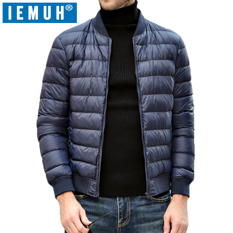 IEMUH Casual White Duck Down Jacket Men Autumn Winter Warm Coat Mens Ultralight Duck Down Jacket Male Windproof Parka Top Brand