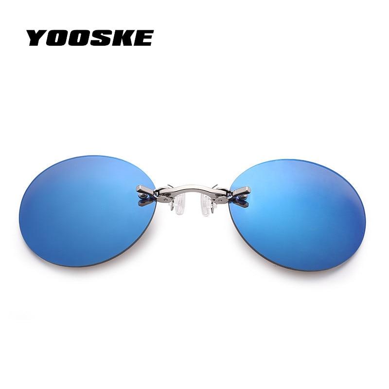 YOOSKE Piccola Rotonda Clip Sul Naso Occhiali Da Sole Da Uomo Vintage Mini Rotonda Occhiali Da Sole Degli Hacker Impero Matrix Morpheus Senza Montatura Occhiali Da Sole