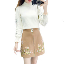 Autumn Winter 2019 Women Pullovers Sweater & Heavy Embroidery 3D Skirt Outfit Lady Top Floral Vestido 2 Pcs Clothing Set S M XL