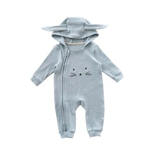2017 Spring Autumn Baby Rompers Cute Animal Design Baby Bunny Romper Hooded Baby Boys and Girls One-piece Cute Infant Suits