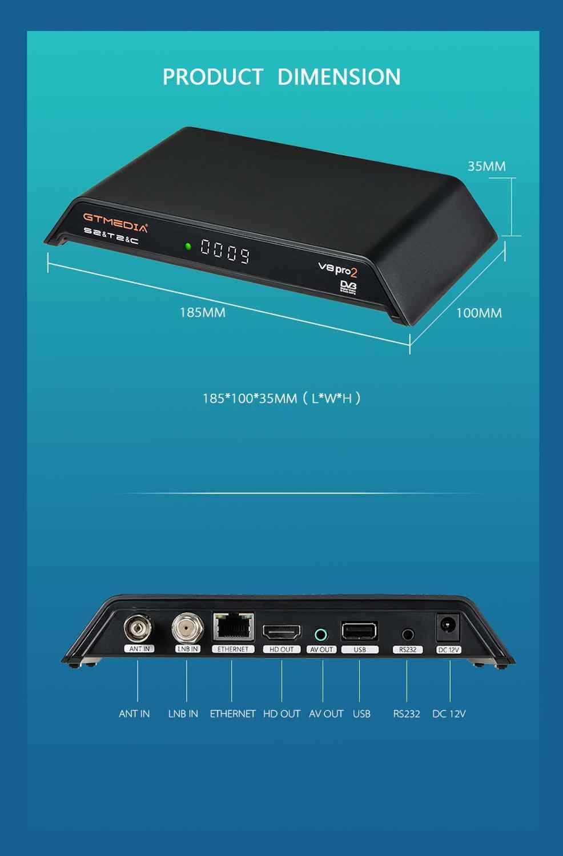 GTmedia V8 Pro2 receptora DVB T2 DVB S2 DVB C wbudowany w WiFi wsparcie cccam hiszpanii z dostępem do kanałów satelitarnych odbiornik TV 1080P pk gt media v8 nova