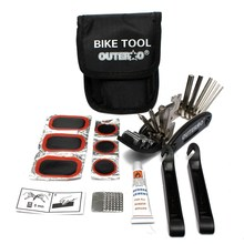 OUTERDO 14 In 1 Multifunctional MTB Bicycle Repair Tools Set Cycling Folding Tyre Tire Repair with Pouch Tools Kit Bike Tools