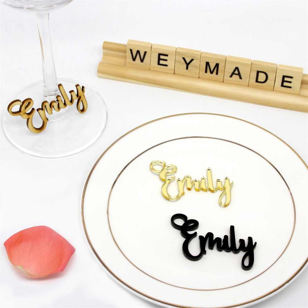 Laser Cut Wood Different Names Place Cards Customized Guest Name For Your Retro Country Wedding / Engagement / Bride Baptism