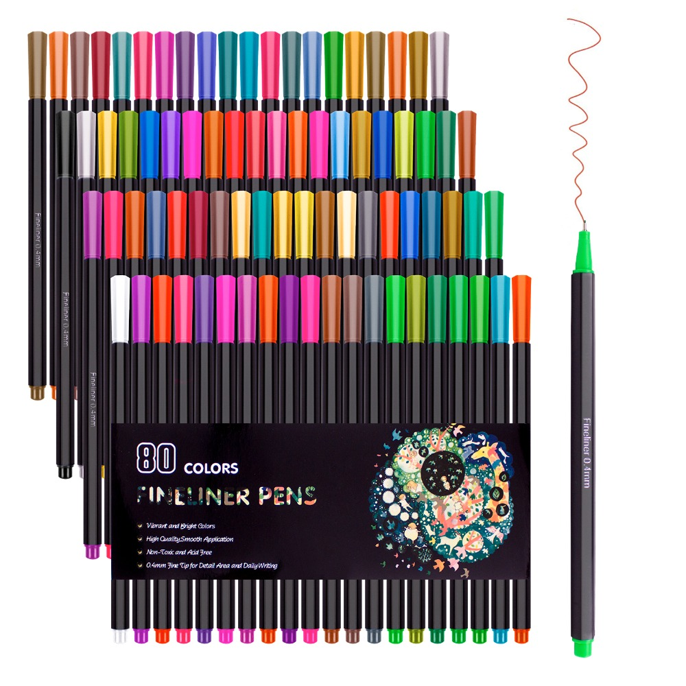 80 Colors Fineliner Color Pen Set 0.4mm Fine Line Sketch Drawing Pens,Fine Point Coloring Markers For Bullet Journal Planner