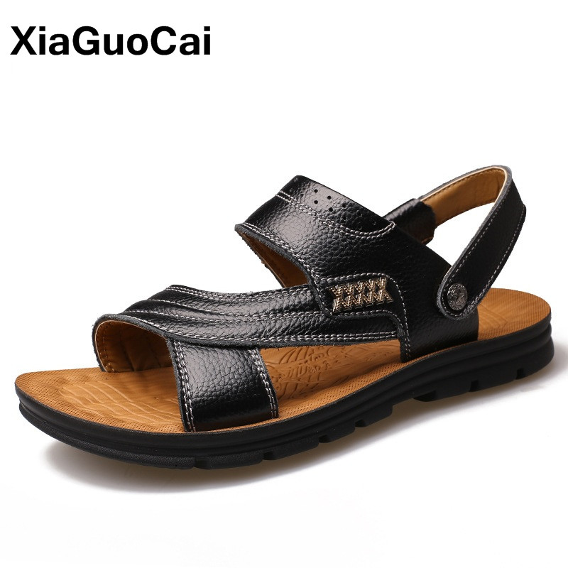 Classic Summer Men Sandals Slippers Two Uses Genuine Leather Casual Slides Beach Shoes For Male Antiskid Mans Flats Mules flats slippers suede pink sandals mary jane genuine leather pointy summer slides designer shoes women luxury 2018 mules gray