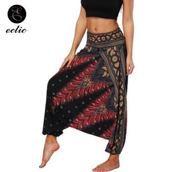 Harem Pants Elastic Waist Ethnic Leggings Flare Geometric Print Leggings High Waist Women Boho Bohemia Wide Leg Leggings Loose