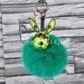 Espacio especial Bunny con pompón de piel de conejo llavero del coche del Keychain del encanto del bolso del bolso del encanto del monedero de la cartera del encanto