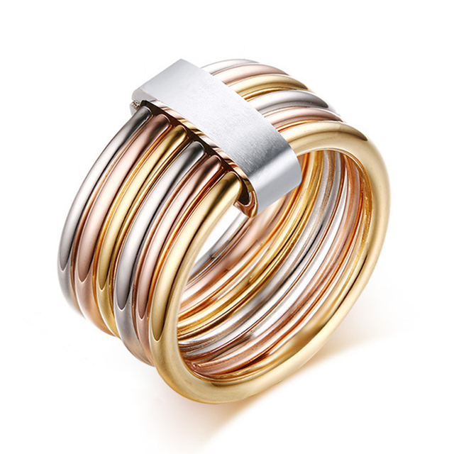 Female Fashion Mix Color Ring Quality Stainless Steel with Gold Rose Gold Silver