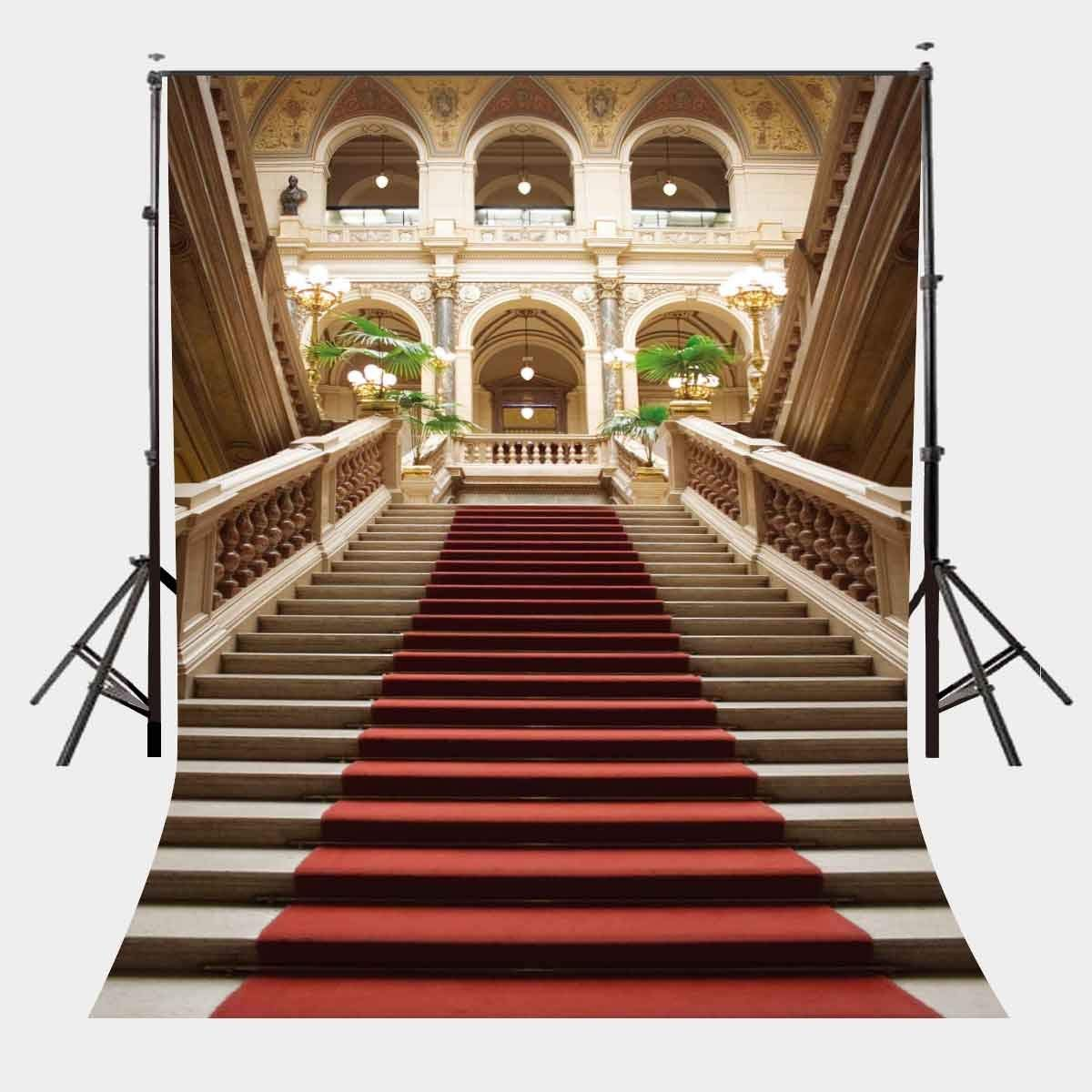 150x220cm Red Carpet Stairs Photography Backdrop Retro Elegant Wedding Photography Studio Props