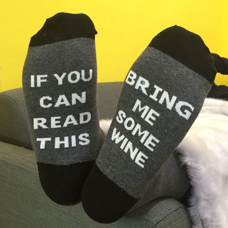 1Pair Happy Socks Funny Words Cotton Blends Socks Women Grey and Red Warm Socks Compression Socks Comfortable