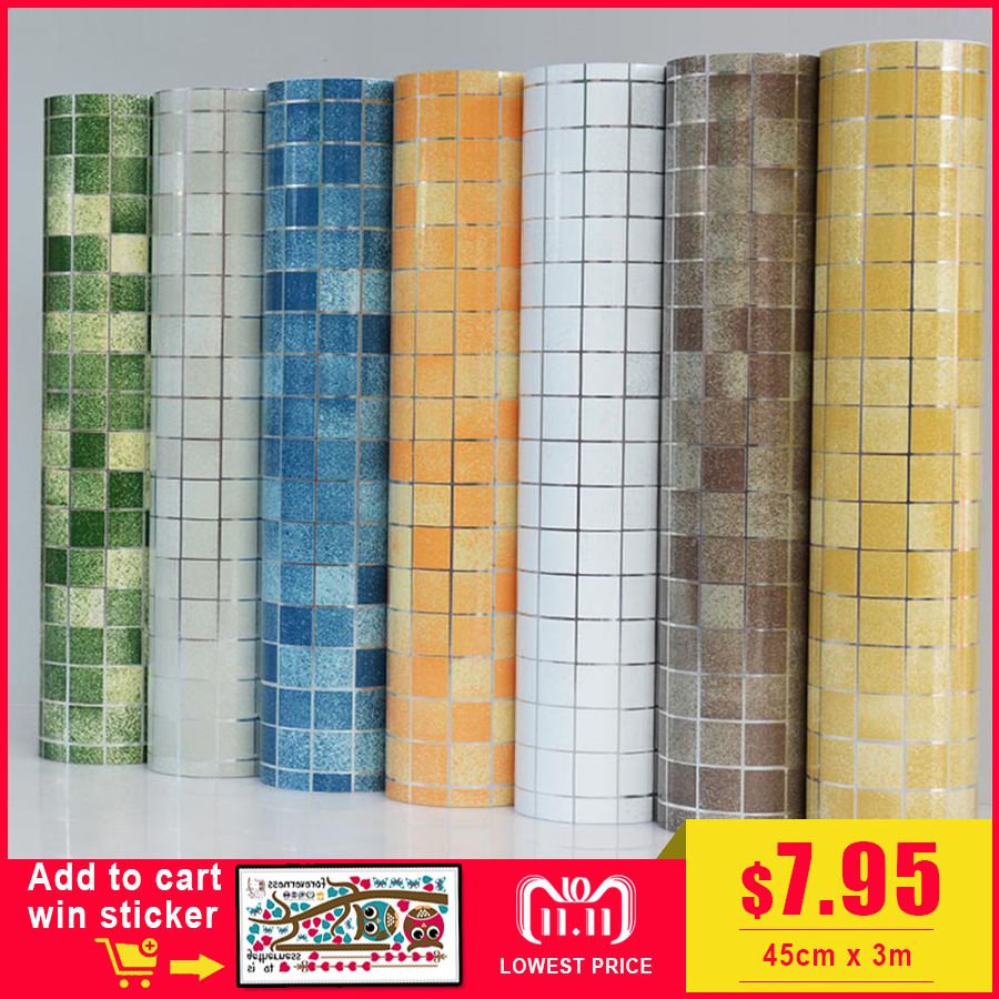 Bathroom wall stickers PVC mosaic wallpaper kitchen waterproof tile stickers plastic vinyl self adhesive wall papers home decor modern kitchen cupboard cabinet self adhesive wallpapers roll vinyl wall papers furniture wall stickers pvc diy decorative films