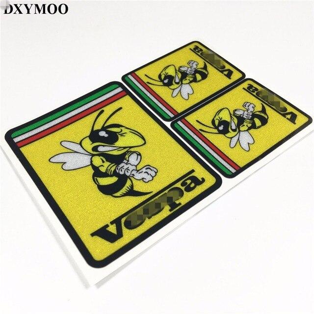 3 piunids/lote Racing Honeybee Italia bandera motocicleta coche pegatina calcomanías reflectantes para Vespa