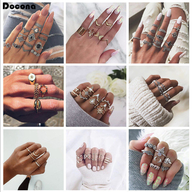 Docona Women Men Bohemia Vintage Faashion Gold Silver Color Rings Sets Hollow Flowers Crown Geometric Clear Crystal Jewelry
