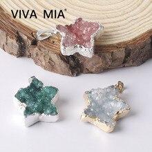 1PCS Druzy Natural Stone Pendulum Star Shape Crystal Quartz Pendant Plating Silver Women For Jewelry Making