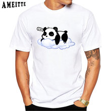 21f8db914 2019 New Summer Fashion Men's Short Sleeve Sleepy Panda Printed T-shirt  Funny Animal Design Boy Novelty Tees Ameitte Casual Tops