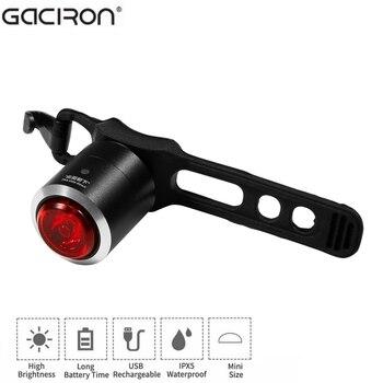 Luz trasera para bicicleta GaCIROn, luz trasera para bicicleta, carga USB, Mini luz trasera para bicicleta IPX5, resistente al agua, luz trasera para bicicleta, 5 lúmenes