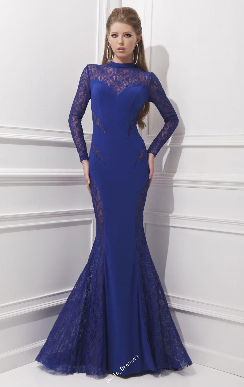 Aliexpress.com : Buy Red Black Royal Blue Mermaid Long Sleeve Prom ...