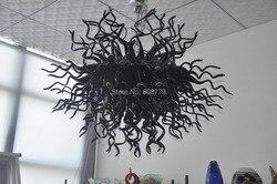 Darmowa wysyłka New Arrival wysoki sufit ze szkła Murano czarny żyrandol