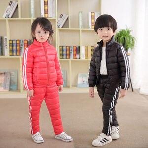 Image 5 - 겨울 키즈 tracksuit 패션 자켓 + 바지 어린이 예쁜 검은 스포츠 정장 소녀 6 7 8 9 년 가을 소년 의류 세트 레드