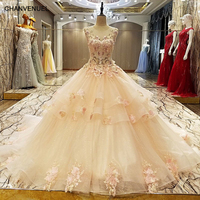 LS63454 Long Evening Prom Dress Corset Back Ball Gown Appliques Organza Evening Party Dress Robe De Soiree Real Photos
