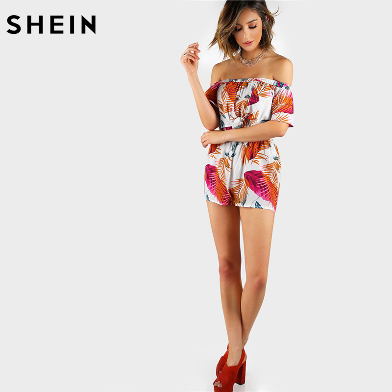 9cad17f41c4d SHEIN Summer Multicolor Palm Leaf Print Layered Knot Front Open Back  Playsuit Off the Shoulder Short Sleeve Sexy Romper