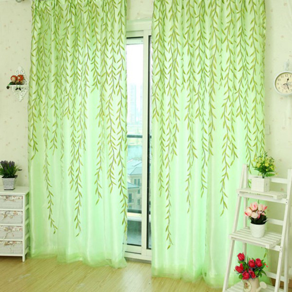 Shower curtain with valance - Fashion French Shower Valance Curtain Living Room Sheer Curtain Tulle Voile Sallow Willow Wicker Flocked Window