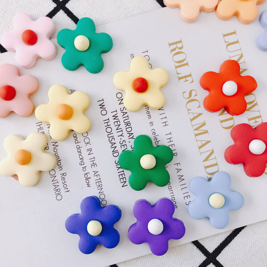 4pieces/<font><b>lot</b></font> children's <font><b>fun</b></font> color color small flower patch DIY <font><b>jewelry</b></font> earrings ear-nail accessories image