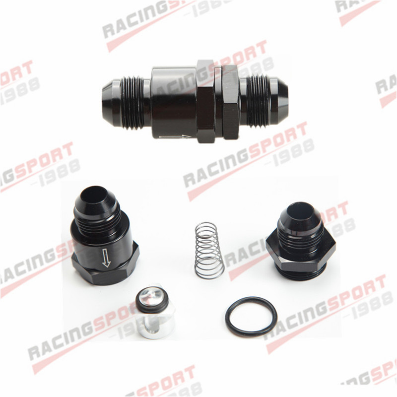 AN8 -8AN Aluminium Non Return One Way Check Valve Fuel EFI Fitting Adapter Black