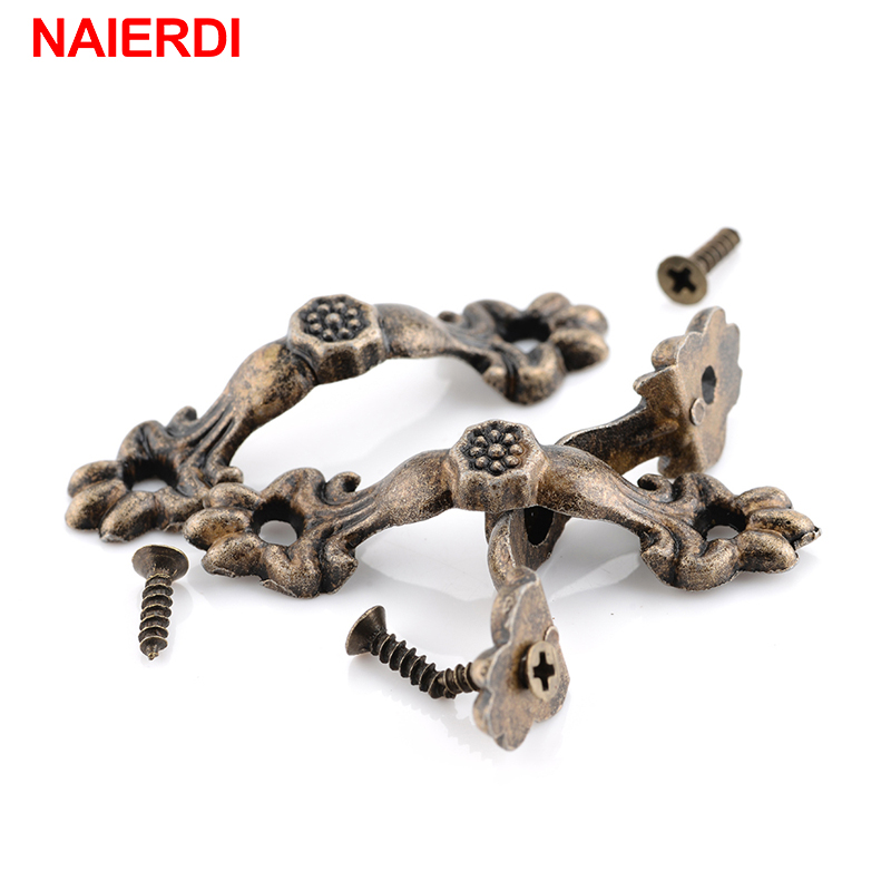 NAIERDI 10pcs Box Handle 43*10MM Zinc Alloy Knobs Arch Tracery Bronze Tone For Drawer Wooden Jewelry Box Furniture Hardware kimxin high end wooden box hinge zinc alloy plating products jewelry box hinges equipped with screw exempt postage w 130