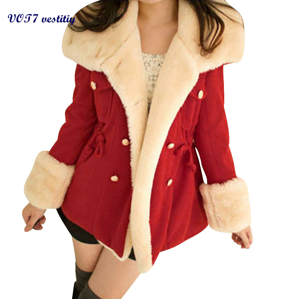 VOT7 vestitiy 2017 fashion Women Winter Warm Double-Breasted Wool Blend Jacket Coat Oct 28