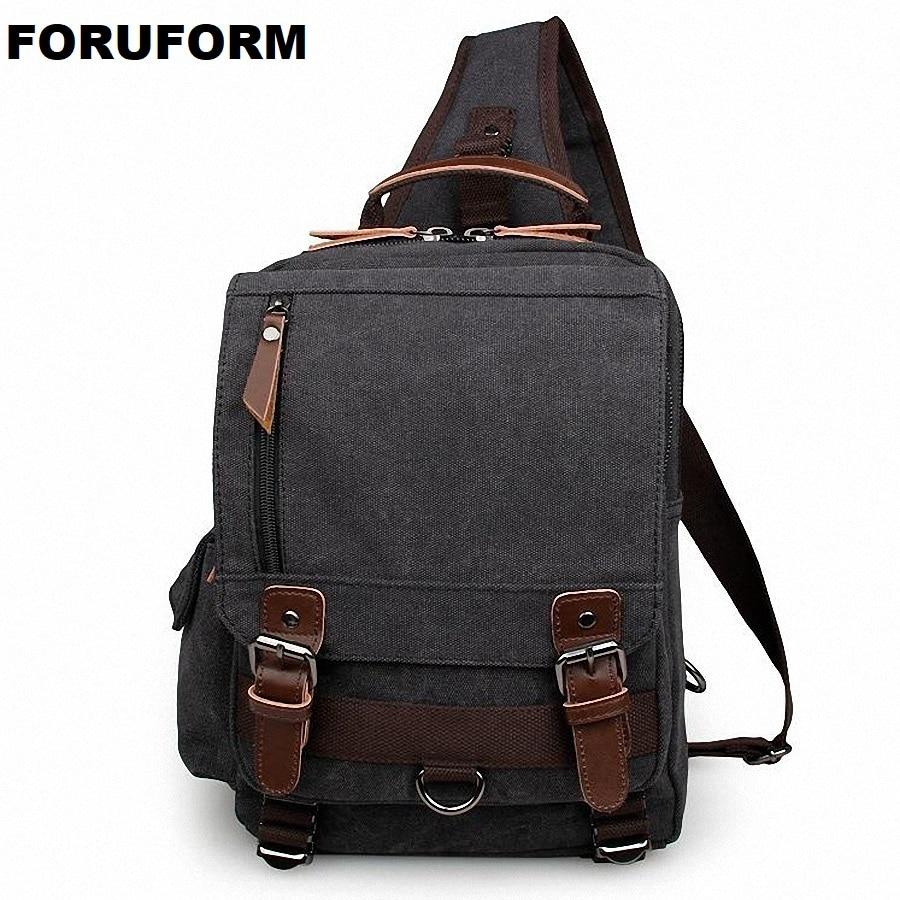цена на 2018 Vintage Men Messenger Bag Casual Travel Rucksack Chest Bag Canvas Small Crossbody Fanny Shoulder Back Pack Bolsas LI-1624