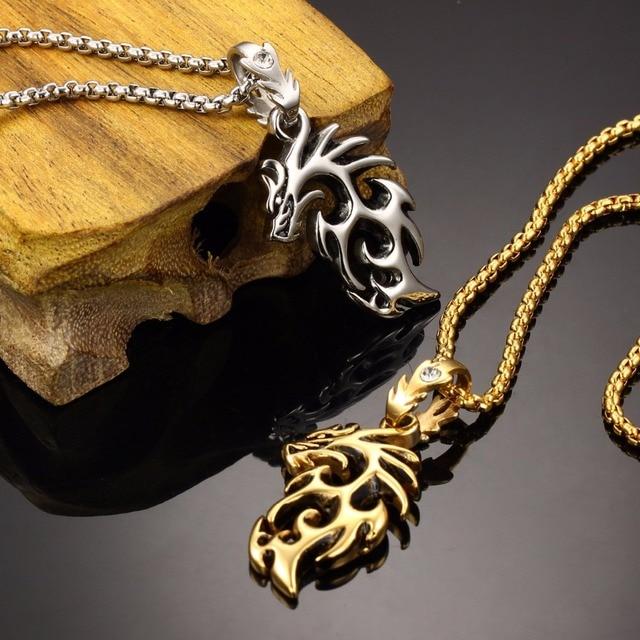 vintage dragon frame necklace in stainless steel - Dragon Frame
