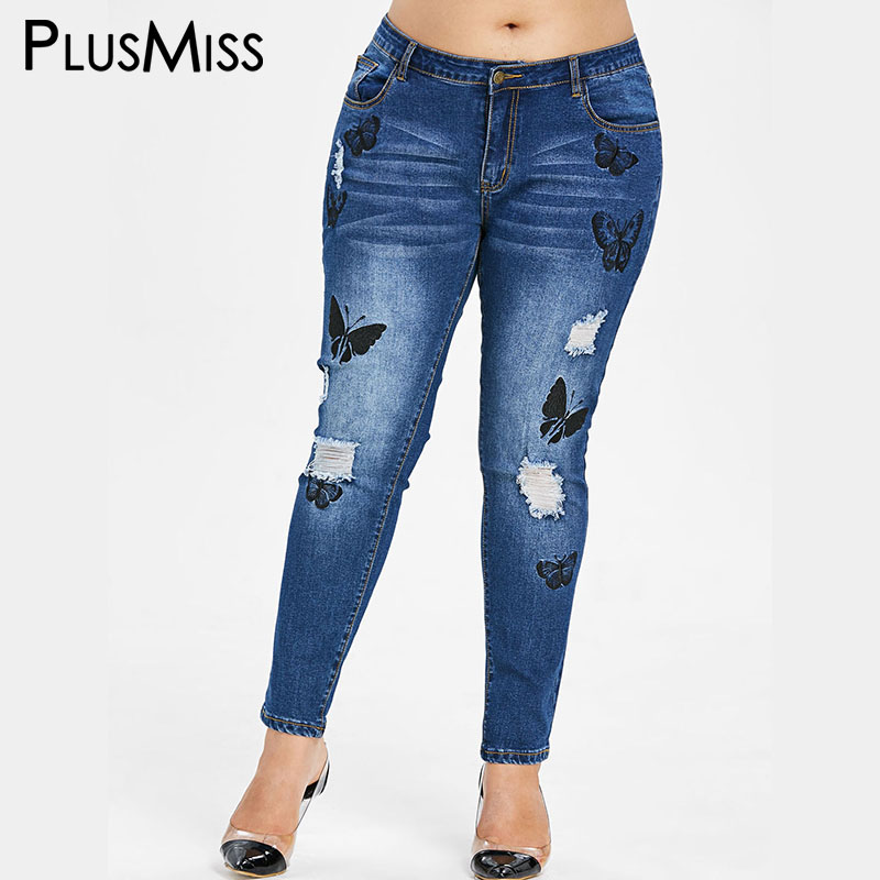 PlusMiss Plus Size 5XL Embroidery Butterfly Ripped   Jeans   Women Skinny Hole Distressed Denim Pants Blue Femme 2019 XXXXL XXXL XXL