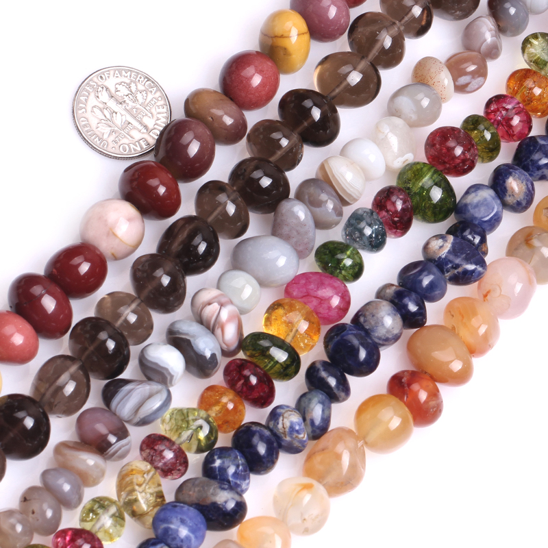 Gem-inside Lots Mixs Mixed Stone Beads Assortment Freeform Potato Glass Beads For Jewelry Making 8X12mm 15inches DIY Jewellery