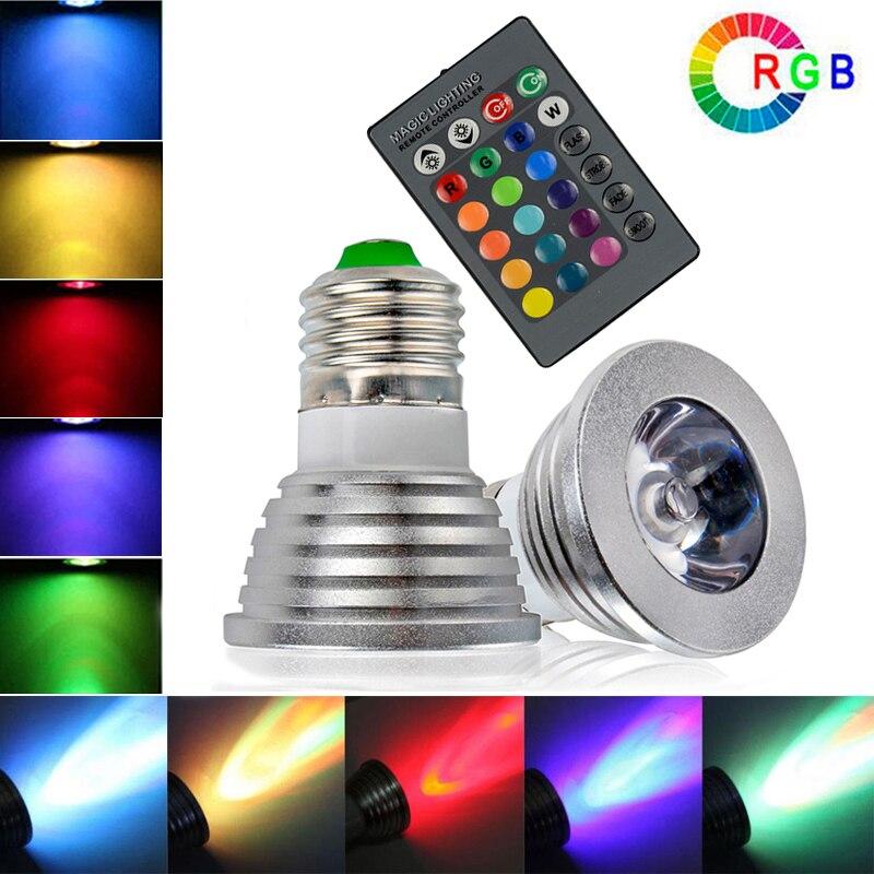 High Power E27 RGB LED Bulb Light 16 Color 85-265V 110V 220V Lampada Changing lamp spotlight Remote Controller light bulb 16 colors wireless remote control 85 265v e27 led 20w rgb changing light bulb h028