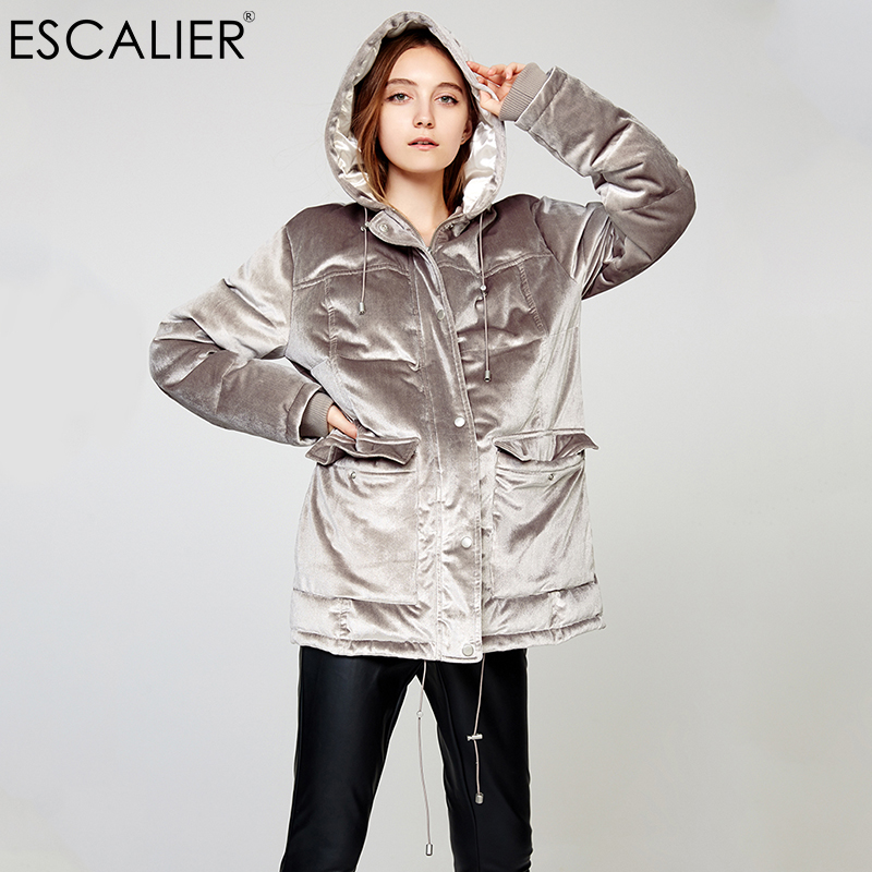 Escalier Women   Down     Coats   Light Grey Velvet Deep Pockets Leisure Hooded   Down   Jacket Super warm Comfortable Exquisite workmanship